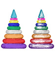 Pyramid from colorful plastic rings vector image vector image