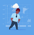 african american business man wet under rain big vector image