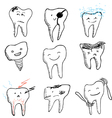 hand drawn funny teeth icons collection vector image