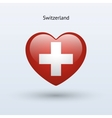 Love Switzerland symbol Heart flag icon vector image