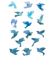 Origami paper stylized blue flying birds vector image