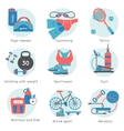 Fitness Gym Colored Icon Set vector image