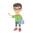 caucasian laughing boy in glasses holding a book vector image