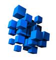 Composition of blue 3d cubes vector image