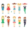 Smiling funny girls character set vector image