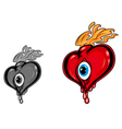 retro heart with eye tattoo vector image vector image