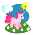 a small pink unicorn vector image