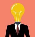 Businessman with a light bulb instead of head vector image
