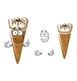 Cute cartoon summer ice cream in a cone vector image