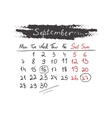 Handdrawn calendar September 2015 vector image
