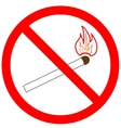 Not light a match sign in red ring vector image