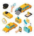 taxi service isometric isolated icons vector image