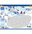 jigsaw puzzle with plane vector image