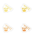 Set of paper stickers on white background Japanese vector image