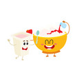 smiling bowl of cottage cheese and yougurt cup vector image