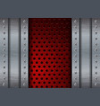 Metal brushed background with red perforated plate vector image