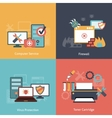 Computer repair flat icons composition vector image