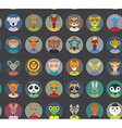 Seamless pattern animals faces circle icons set in vector image