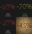 70 20 45 icon Set of percent discount on abstract vector image