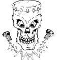 frankenstein skull vector image