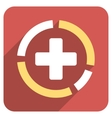 Health Care Diagram Flat Rounded Square Icon with vector image