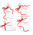 set of cards with red bows vector image vector image