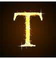 Alphabets T of gold glittering stars vector image
