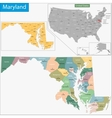 Maryland map vector image