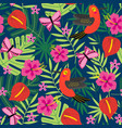 Seamless pattern with tropical nature vector image