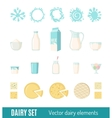 Set of dairy products in flat style vector image