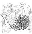 snail on a field of dandelions black and white vector image