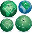 soccer field on globe vector image