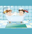 two boys taking bubble bath vector image