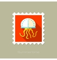 Jellyfish flat stamp with long shadow vector image