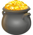 Pot of gold coins Full cauldron of gold vector image