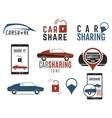 Car share logo designs set Car Sharing vector image
