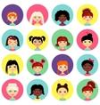 Multinational female face avatar profile heads vector image