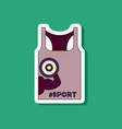 paper sticker on stylish background sports shirt vector image