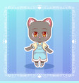 sweet kitty little happy smile cat cute kawaii vector image