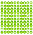 100 toys for kids icons set green circle vector image