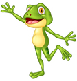 Cartoon cute frog waving hand with a face full of vector image
