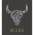 Bohemian style Bull Skull poster with feathers vector image