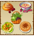 Big set of fresh and cooked food vector image