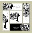 Business cards design female floral portrait vector image
