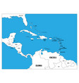 central america and carribean states political map vector image