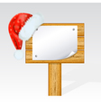 christmas billboard with a hat of santa claus mes vector image