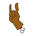 comic cartoon hand making rock symbol vector image