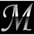 silver metallic letter M vector image