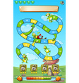Game template with frogs in field background vector image vector image