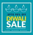 diwali sale banner with diya in blue background vector image